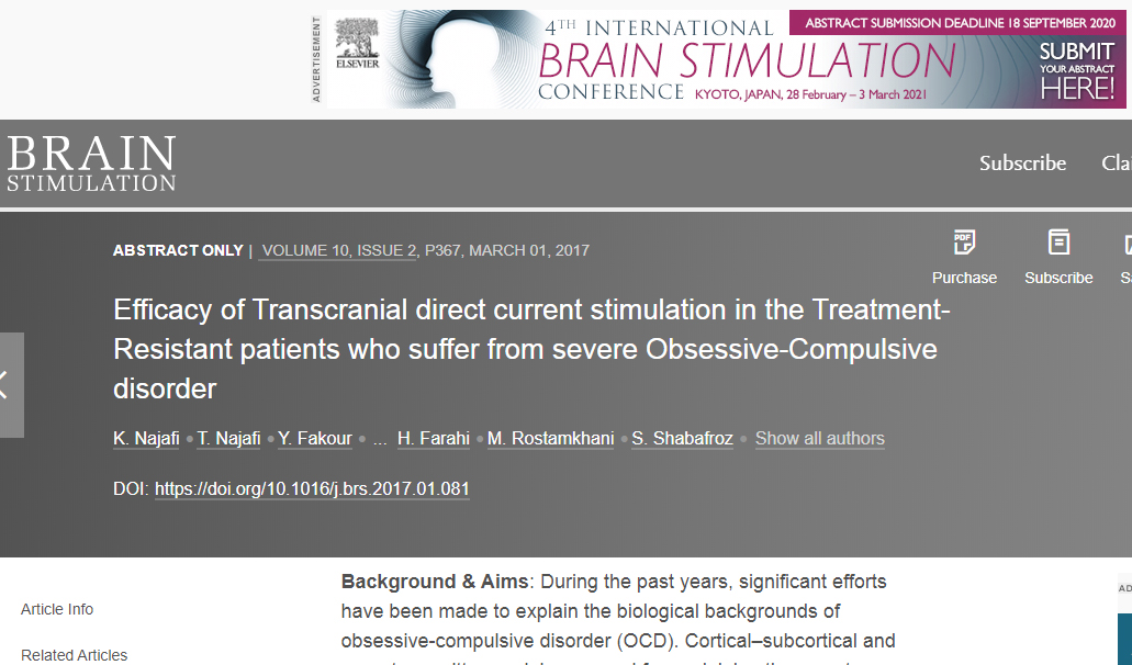 Efficacy of Transcranial direct current stimulation in the Treatment-Resistant patients who suffer from severe Obsessive-Compulsive disorder